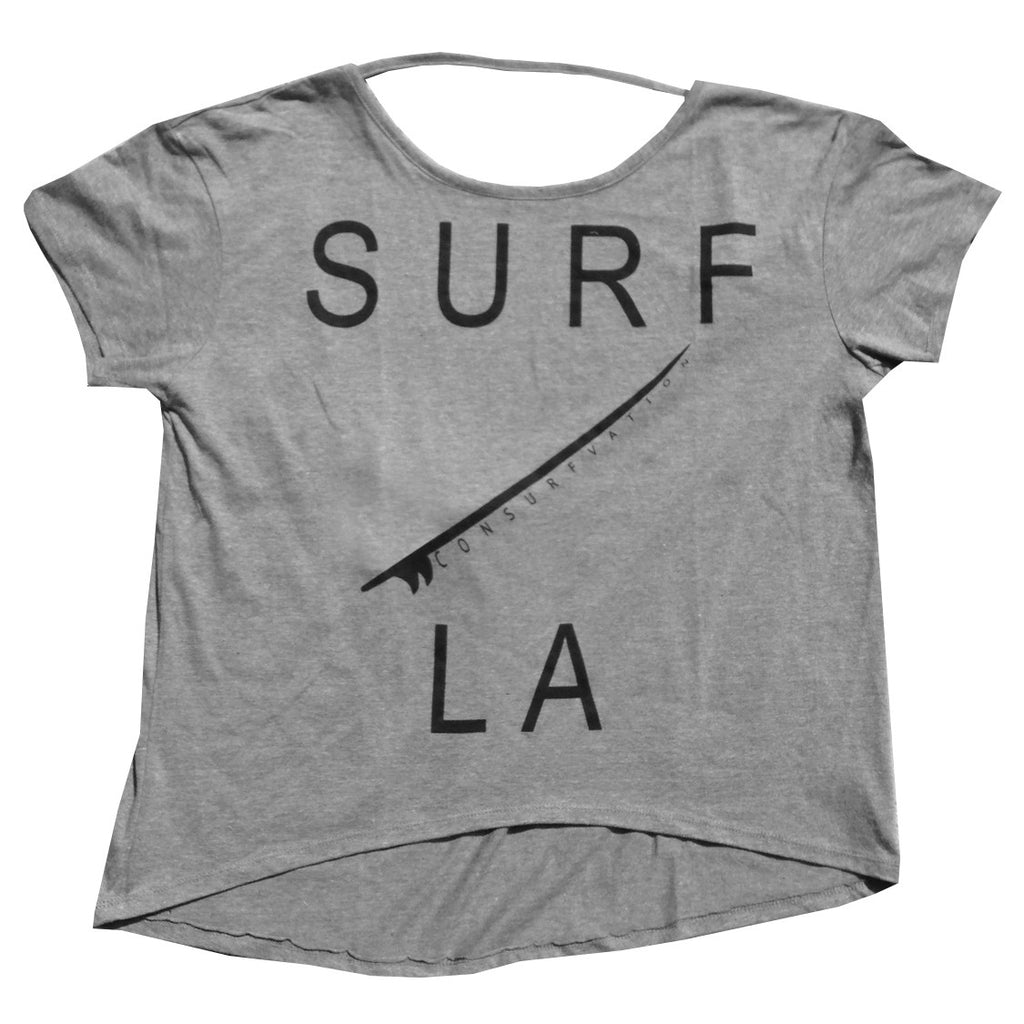 Consurfvation Deep Scoop Backless Surf LA Oversized Tee
