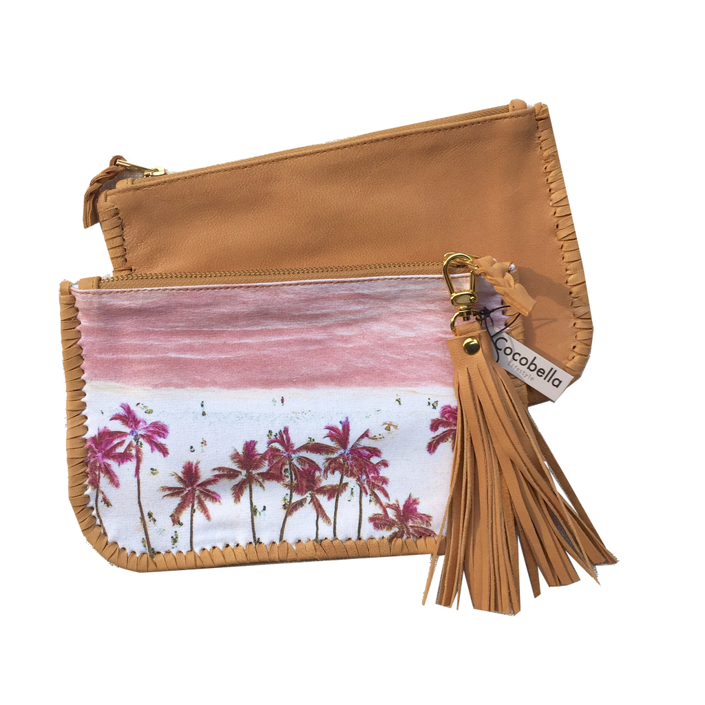 Pink Palace Waikiki Canvas & Leather Clutch