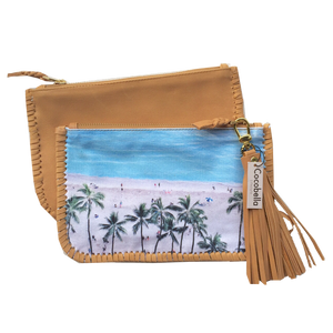 Waikiki Blue Canvas & Leather Clutch