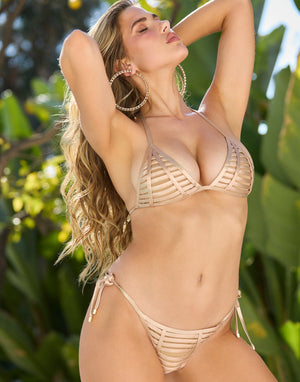 Hard Summer Tie Side Bikini Bottom in Rose Gold with Nude Lining - Alternate Front View ?id=16903382564995