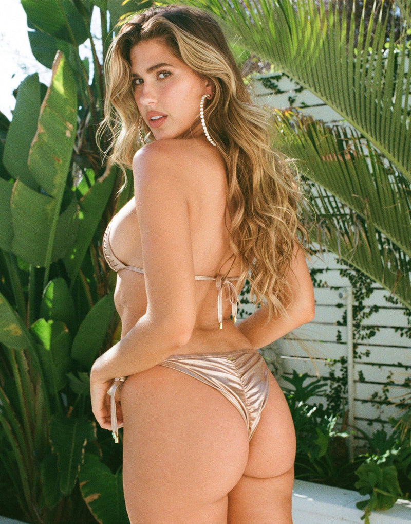 Hard Summer Tie Side Bikini Bottom in Rose Gold with Nude Lining - Back View ?id=16903382466691