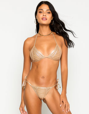 Hard Summer Tie Side Bikini Bottom in Rose Gold with Nude Lining - Alternate Front View ?id=16849856397443