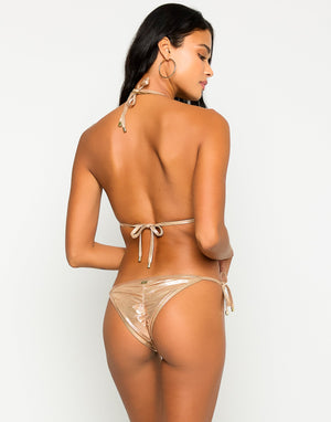 Hard Summer Tie Side Bikini Bottom in Rose Gold with Nude Lining - Alternate  Back View ?id=16849856364675