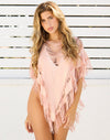 Indian Summer Fringe Poncho in Rose Gold - Front View ?id=16898183004291