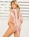 Indian Summer Fringe Poncho in Rose Gold - Back View ?id=16898182971523