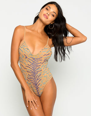 Nala One Piece in Sapphire with Beads and Sequins - Front View  ?id=16856306876547