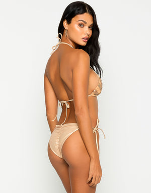 Jolie Tie Side Bikini Bottom in Rose Gold with Beads and Sequins - Back View ?id=16847111815299