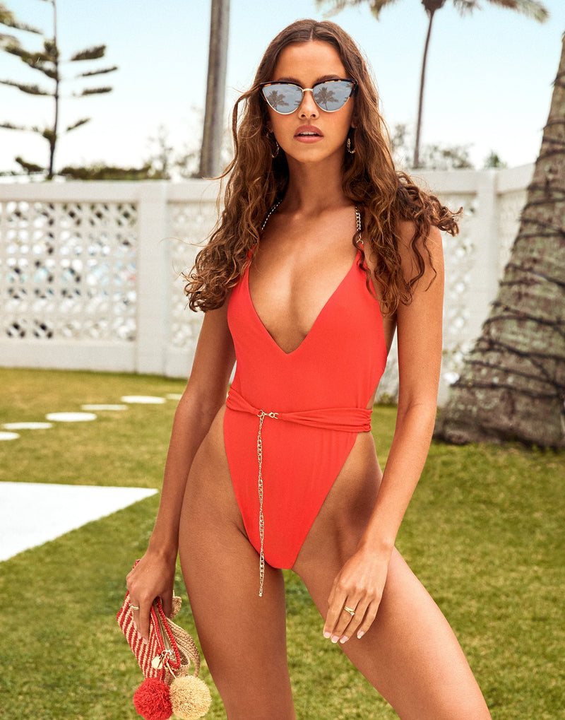 Brooklyn One Piece in Red with Gold Chain Hardware - Alternate Front View / Spring 2021 Campaign - Isabelle Mathers  ?id=16852606550147