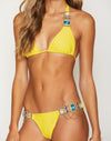 Jazmin Halter Bikini Top in Sunshine with Rhinestone Hardware - Detail View