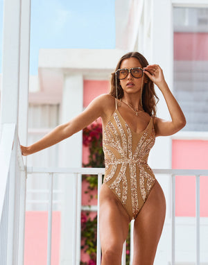 Jolie One Piece in Rose Gold with Beads and Sequins - Alternate Front View / Spring 2021 Campaign - Isabelle Mathers  ?id=16852662386819