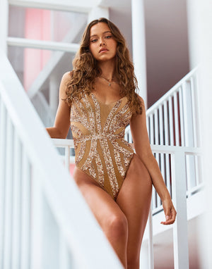 Jolie One Piece in Rose Gold with Beads and Sequins - Alternate Front View / Spring 2021 Campaign - Isabelle Mathers  ?id=16852662419587
