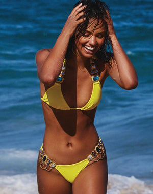 Jazmin Halter Bikini Top in Sunshine with Rhinestone Hardware - Alternate Front View