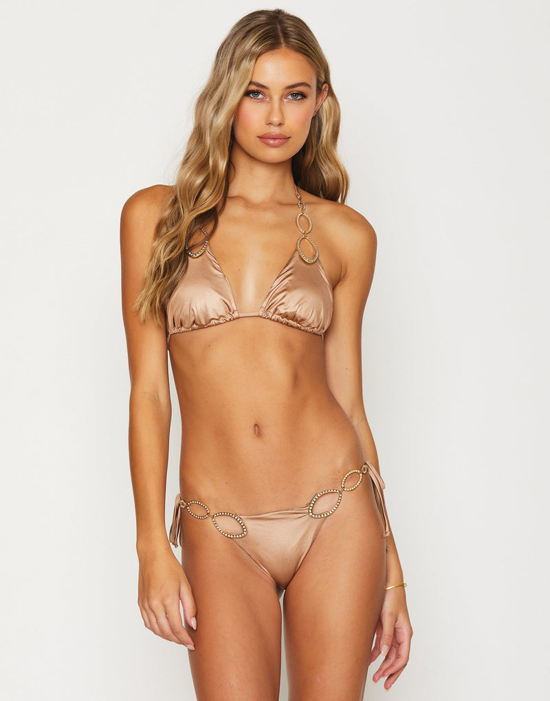Paisley Triangle Bikini Top in Brown Sugar with Gold Hardware - Front View