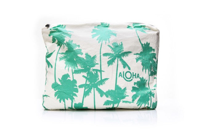 MAX Coco Palms / White Pouch with Seafoam