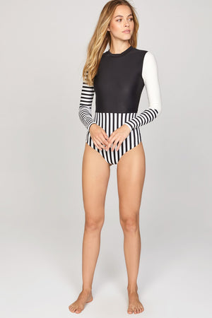 Deja One Piece Rash Guard in Black Sands