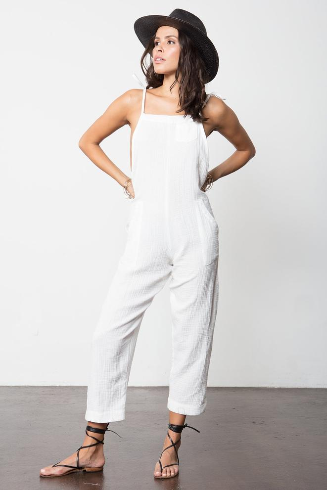 Some Beachy Overalls - White