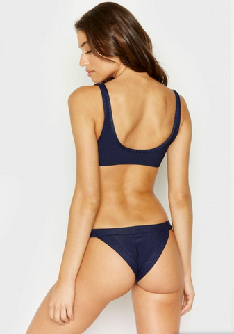 Orillas Del Mar Ribbed Wavey Ruched Back Brazilian Bottom