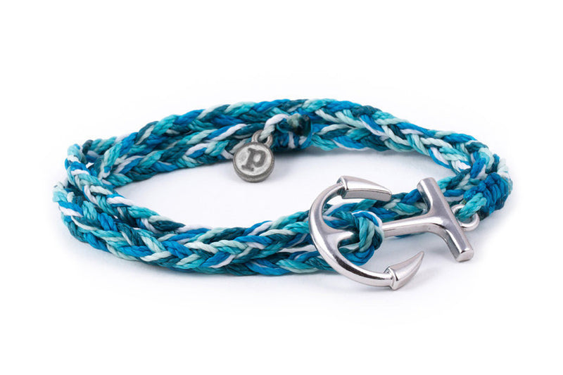 Silver Anchor Wrap Bracelet in Aqua