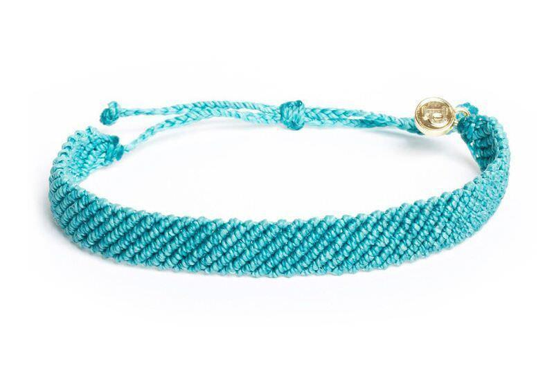 Flat Braided Bracelet in Pacific Blue