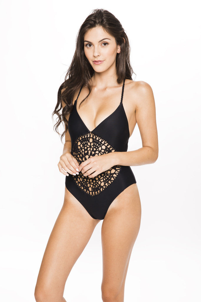 Frankies Bikinis Poppy One Piece in Black