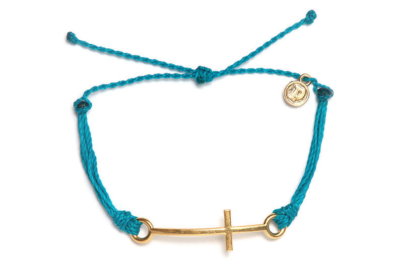 Gold Cross Bracelet in Neon Blue