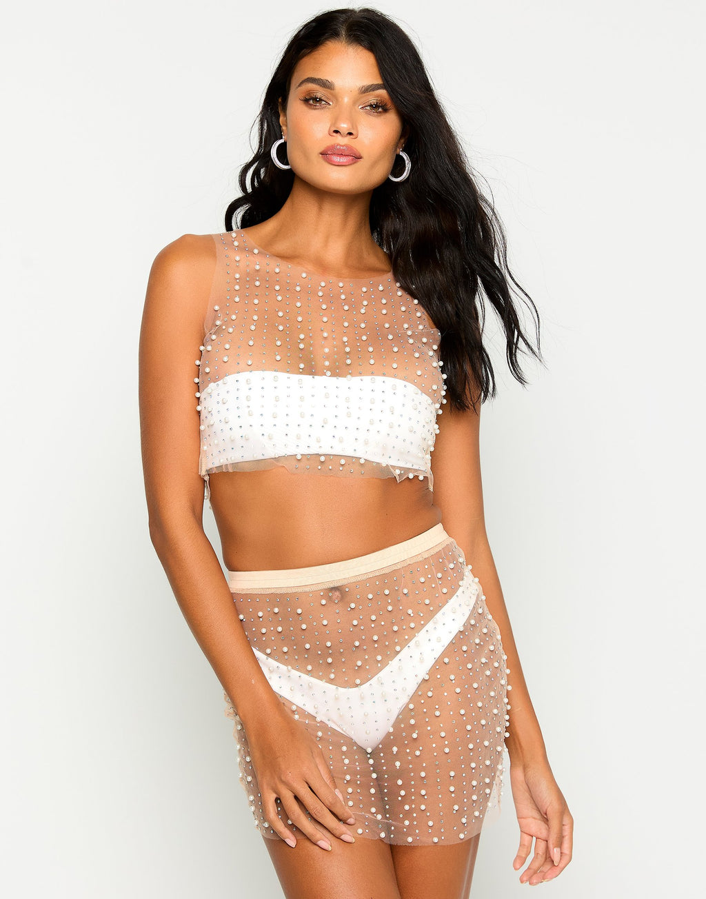 Glitzy Girl Mesh Pearl Top & Skirt Set