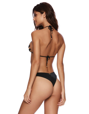 Jolie Triangle Bikini Top in Black with Beads - Back View
