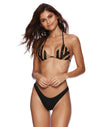 Jolie Triangle Bikini Top in Black with Beads - Alternate Front View