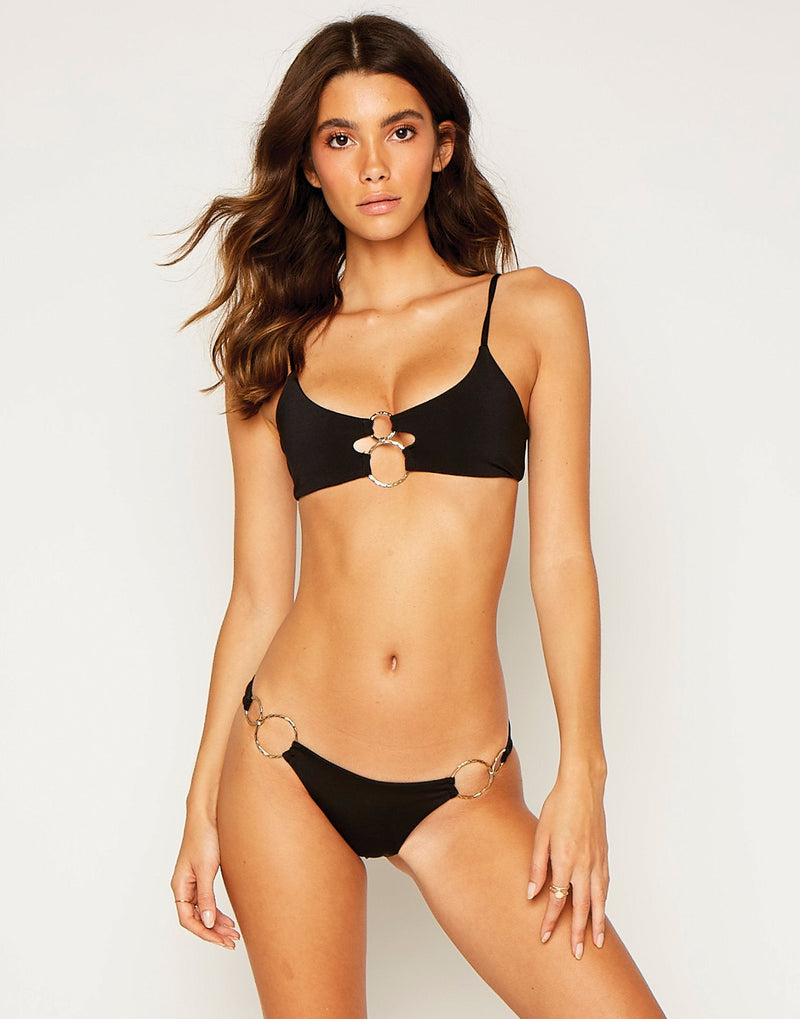 Lexi Bralette Bikini Top in Black with Gold Hardware - Runway View