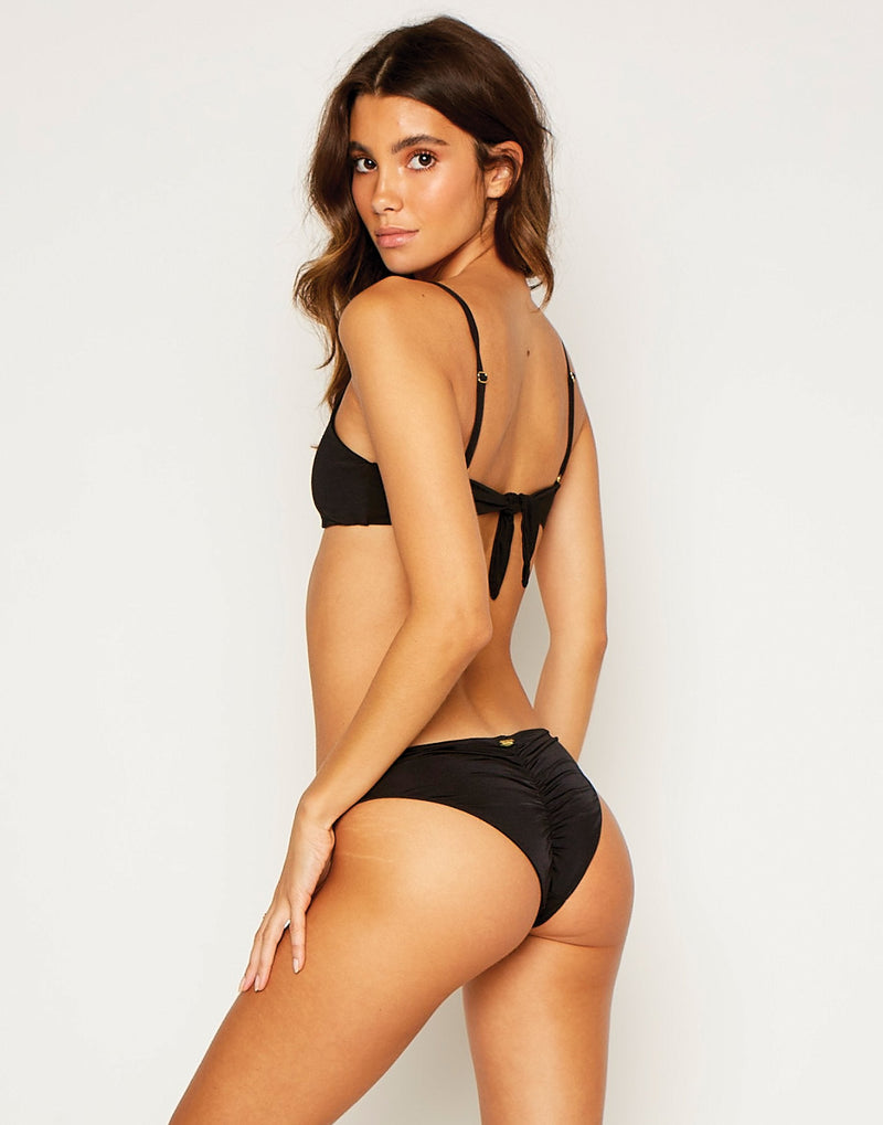 Nadia Skimpy Bikini Bottom in Black with Gold Hardware - product view