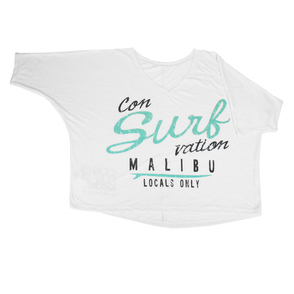Consurfvation V-Neck 3/4 Dolman Sleeve Crop Tee - Malibu Locals Only