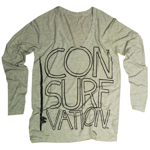 Consurfvation Long Sleeve Flowy Loose Fit Tee - California Surfing Bear