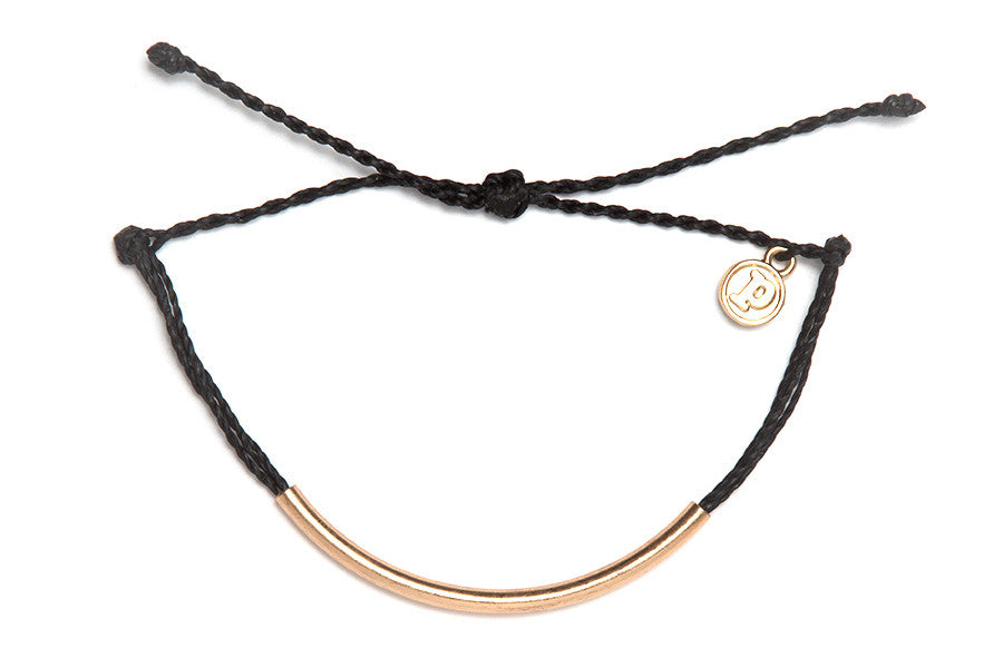 Gold Bar Bracelet in Black