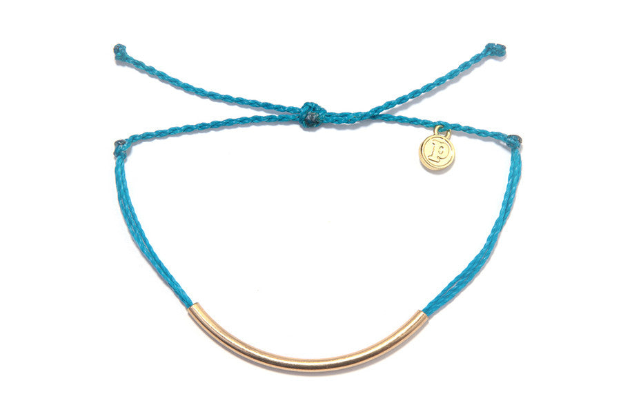 Gold Bar Bracelet in Neon Blue