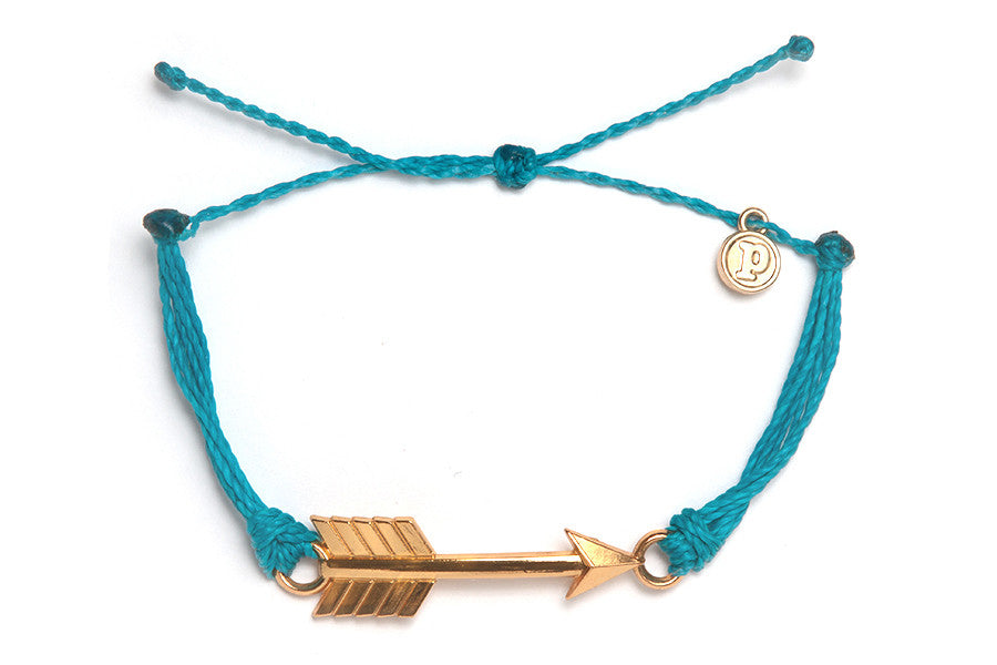 Gold Arrow Bracelet in Neon Blue