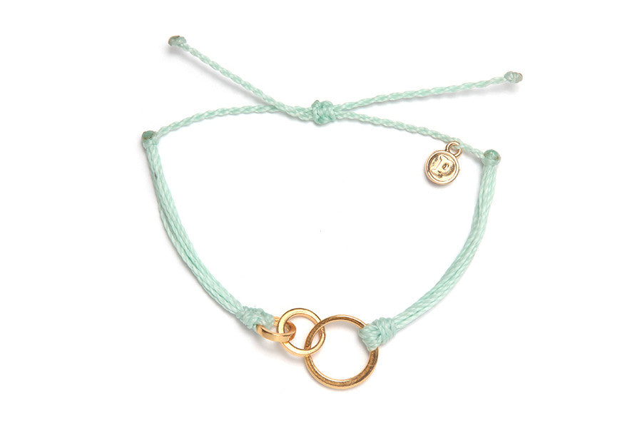 Gold Circles Bracelet in Seafoam