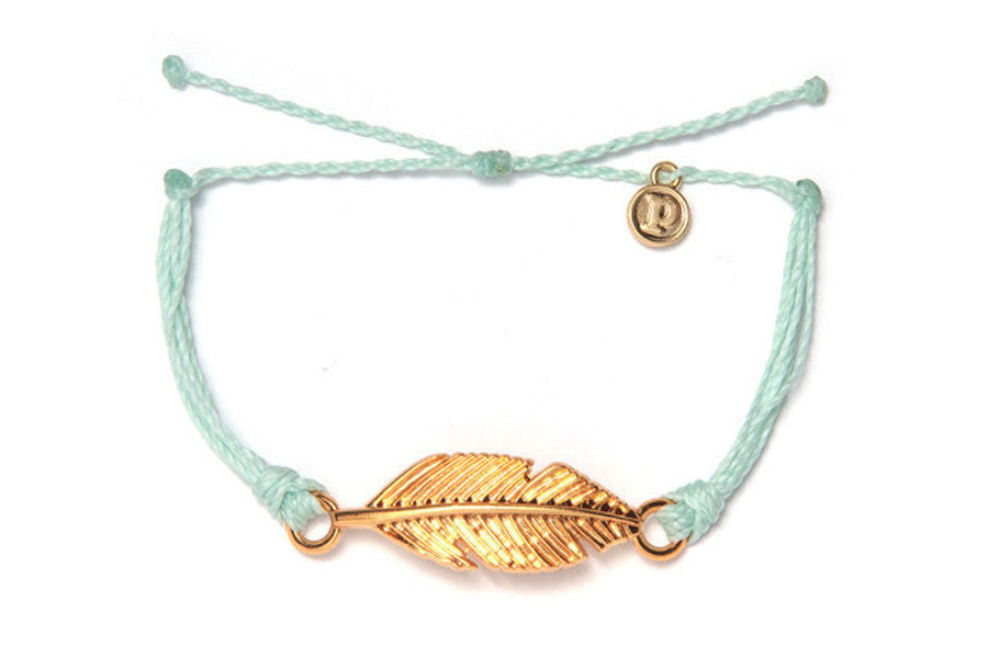 Gold Feather Seafoam Bracelet