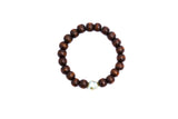 Single Pearl Wood Stretch Bracelet