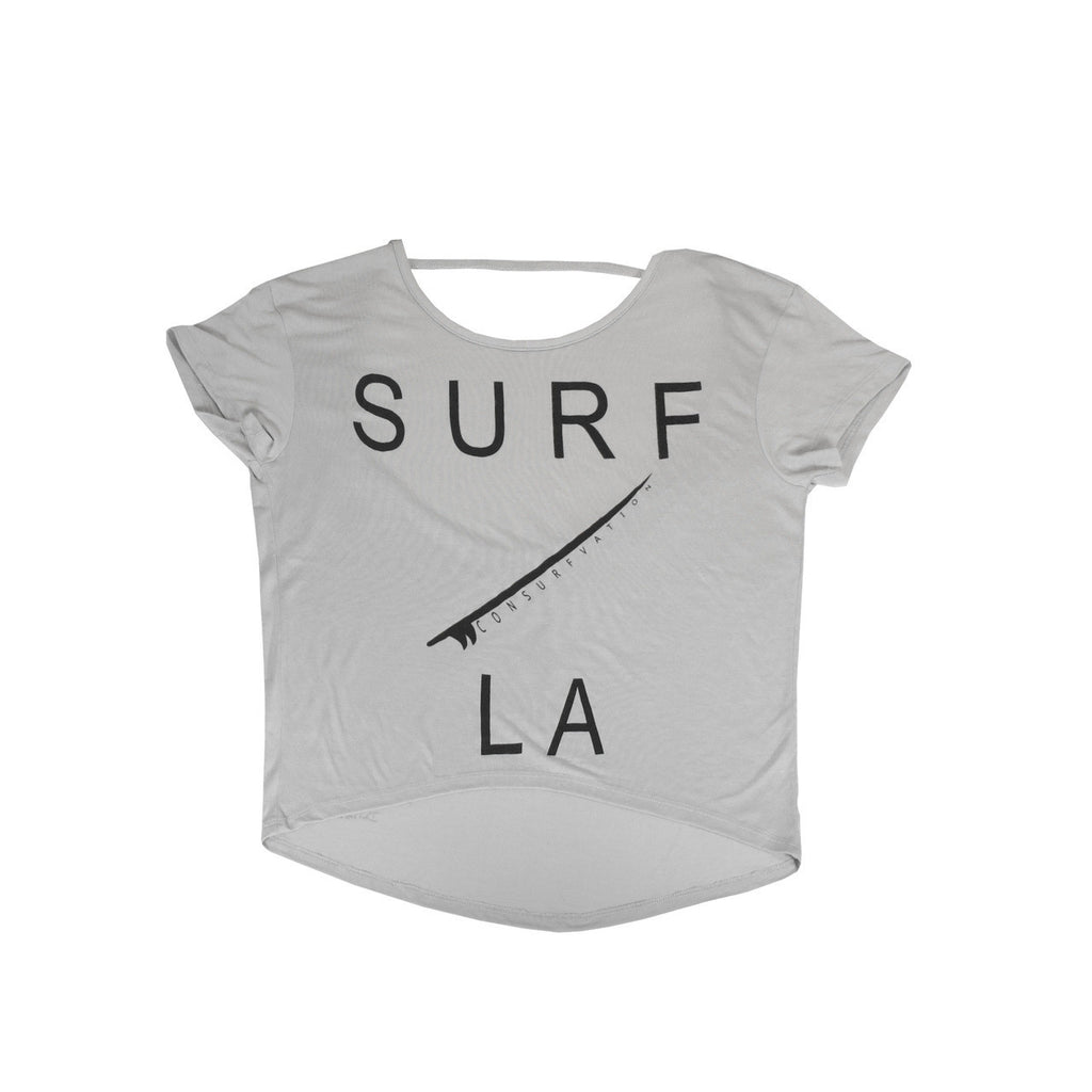 Consurfvation Deep Scoop Open Back Oversized Tee - Surf LA