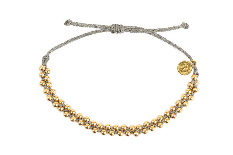 Gold Track Bead Bracelet in Grey