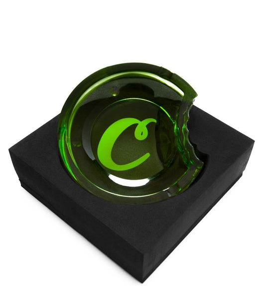 COOKIES C BITE GREEN GLASS ASHTRAY
