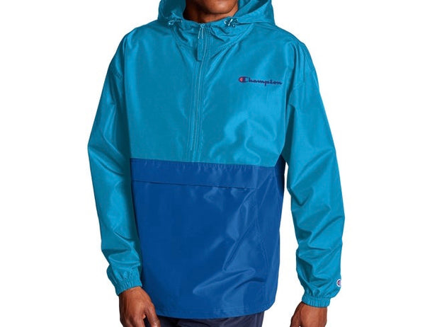 CHAMPION COLORBLOCKED PACKABLE BLUE JACKET