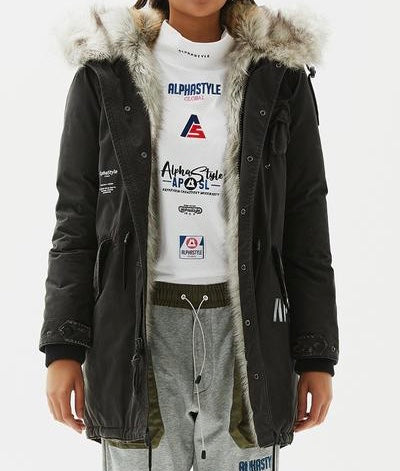 ALPHASTYLE BUNTING FAUX FUR PADDED PARKA