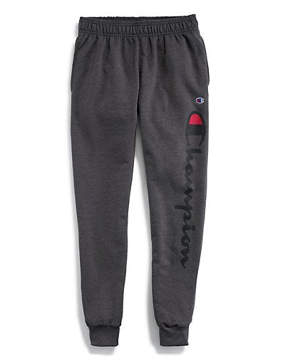 CHAMPION MEN'S POWERBLEND FLEECE JOGGERS VERTICAL SCRIPT LOGO