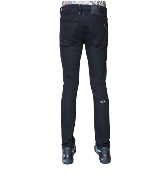 CULT PUNK SUPER SKINNY STRETCH JEANS - BLK