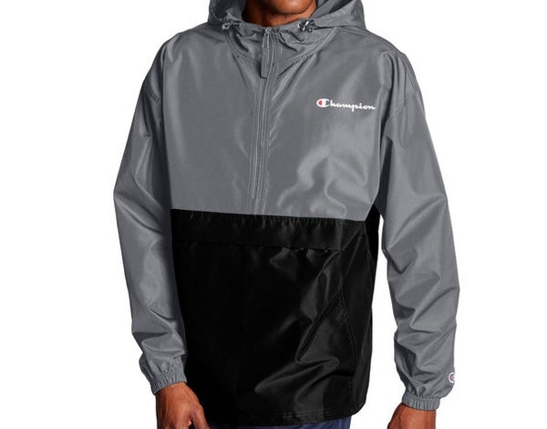 CHAMPION COLORBLOCKED PACKABLE GREY JACKET