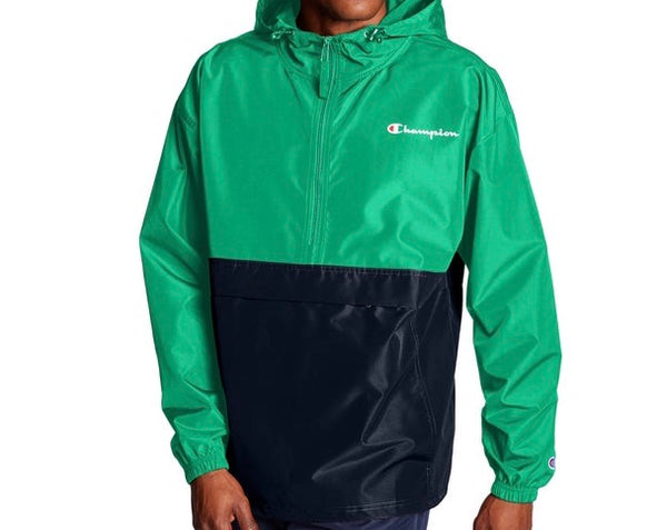 CHAMPION COLORBLOCKED PACKABLE  GREEN JACKET