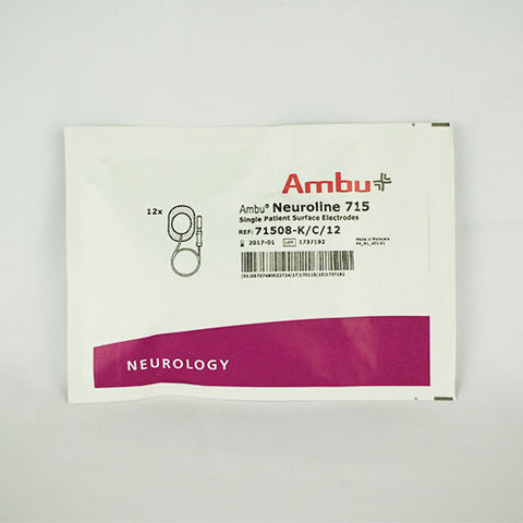 Ambu Neuroline 715 Disposable Electrodes with Attached Leads (12)