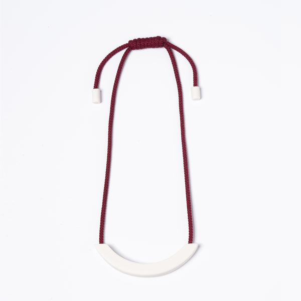 White Arc Necklace - Burgundy