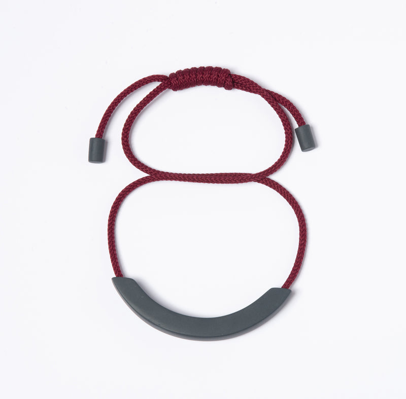 Grey Arc Necklace - Burgundy